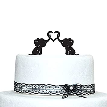 Baby Elephants Silhouette Wedding Cake Topper With Heart
