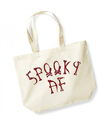 Spooky AF- Large Canvas Fun Slogan Tote Bag Natural/Red
