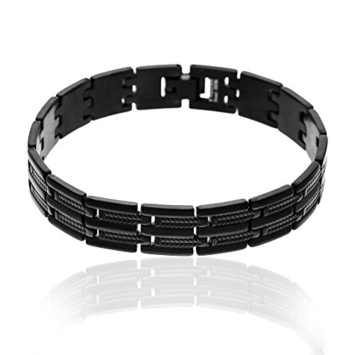 1913-Structure Men's Black-Tone Stainless Steel Ribbed Link Bracelet