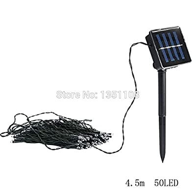 2016 New 4.5M 50 LED 3W Solar Power Waterproof IP44 Outdoor Garden Christmas Xmas Party Decoration String Fairy Strip Light Lamp
