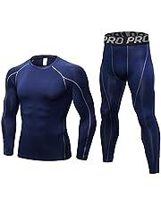 Heren Workout Compressie Set Broeken en Shirts met Lange Mouwen Winter Warm Thermisch Basislaag Top & Bottom
