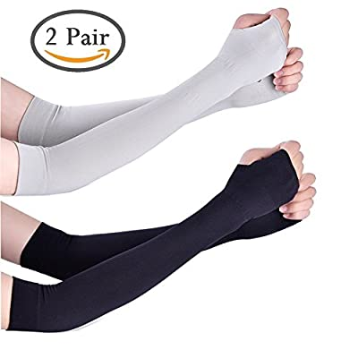 Arm Sleeves - Unisex Sports Cooling Arm Gloves UV Sun Protective Outdoor Activities Skin Protection Long Sleeve (Pack of 2)