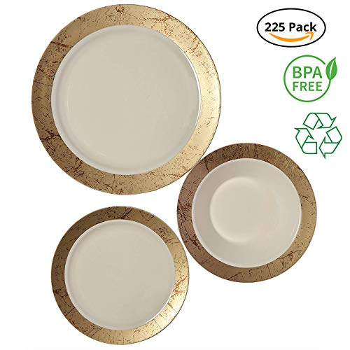 Collection Zen Garden (Party Joy 225-Piece Plastic Dinnerware Set   Marble Collection   (75) Dinner Plates, (75) Salad Plates  & (75) Bowls  Heavy Duty Premium Plastic Plates for Wedding, Parties, Camping & More (Gold))