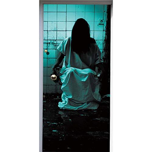 YJZ 3D Door Wall Mural Wallpaper Stickers Female Ghost In Halloween WC Self-Adhesive Vinyl Waterproof Art Door Renovation Decals