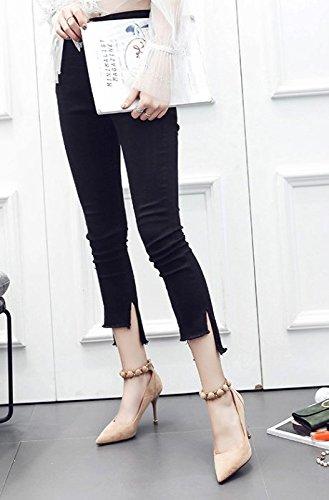 MDRW-Lady Elegant Arbeit Freizeit Feder Schuhe Mode All-Match Wildleder Wildleder Wildleder Mit Einem Feinen Punkt Das Wort Beige 9 Cm High-Heeled Schuhe Schnalle fb22d5