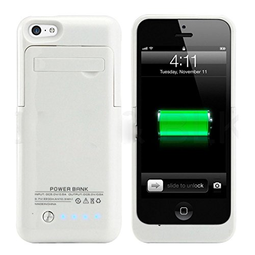 NOKKOO External Battery Case 2200 Mah Universal Slim Case Battery Rechargeable Case Cover Portable Outdoor Battery Light Lights and Built-in Pop-out Kickstand Holder for Iphone 5/5s/5c (White) (Iphone 5 Battery Case White)