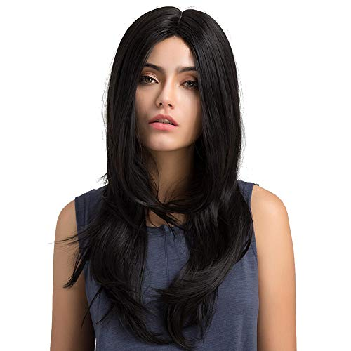 Women's Black Long Fashion Natural Straight Wigs Cosplay Party Halloween Heat Resistant Costume Wigs for Fancy Dress -