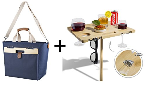 LeSac Fashion Insulated Party Cooler Bag with Wine Bottle Sections and Fold-able Outdoor Bamboo Wine Picnic Table for Outdoor Concerts, Beach, Picnic Adventures. Perfect Holiday Gift for (Bamboo Wine Table)