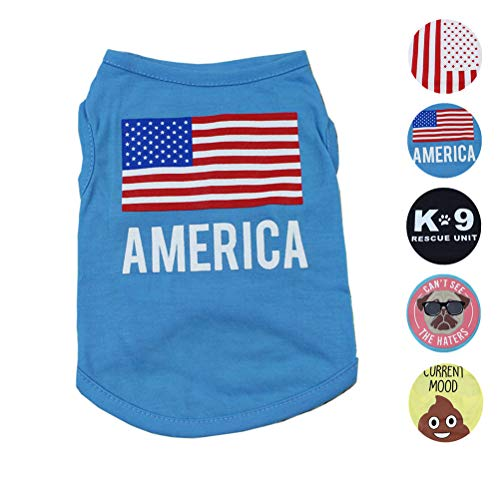 Alroman Dogs American Flag Shirts Blue Vest Stars and Stripes Clothing for Dogs Cats Tee L Dog Vacation Vest Male Dog T-Shirt Puppy Summer Clothes Boy Polyester Shirt Dog Cat Pet Small Apparel