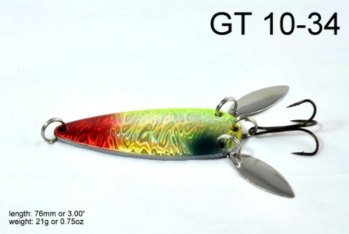 Lures Fishing Northern Pike (Akuna [GT 10] 3-Inch Casting Spoon Fishing Lure for Northern Pike, Salmon, Walleye and Largemouth Bass, Holographic Golden Chartreuse, Five of One Color)