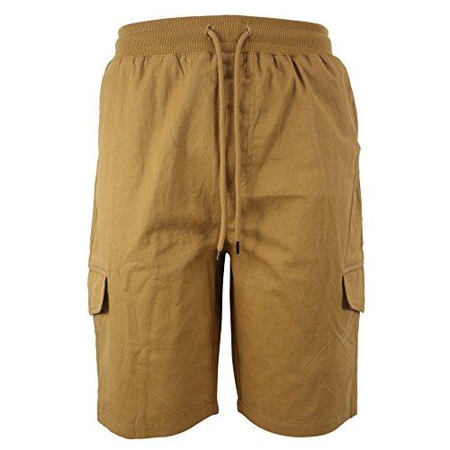 Tanbridge Men's Cotton Cargo Shorts with Pockets Loose Fit Outdoor Wear Twill Elastic Waist Shorts Khaki ()