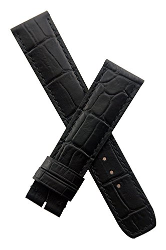 Black leather crocodile-effect watch band with black stitching to fit Baume & Mercier Capeland models requiring a 20 mm strap