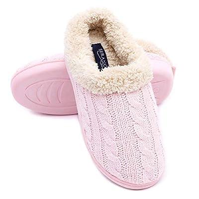Seranoma Women's Knit Faux Fur Slip On Slippers w/Cushioned Antislip TPR Sole | Slippers