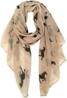 Herebuy Cute Horse Print Scarf Fashionable Women Scarves for Winter (Beige02)