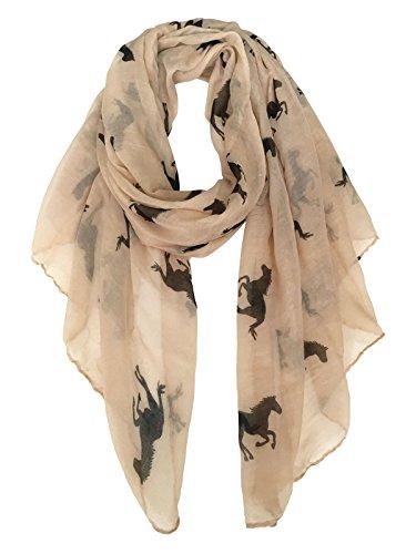 Herebuy Cool Animal Print Scarves  Fashionable Horse Print Scarf For Women  Brown Black