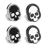 homEdge Cell Phone Skull Ring Grip, Set of 4 Packs 360° Adjustable Finger Ring Holder, Suitable for Magnetic Car Mount Kickstand for Cell Phone-Black and White