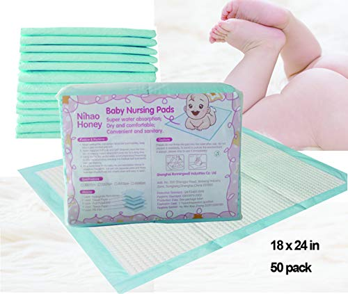 Disposable Changing Pads Mats, Soft and Waterproof Leak-Proof Breathable Disposable Underpads for Baby(Blue, 18x24inch)