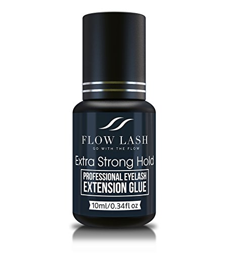 Eyelash Extension Glue - Extra Strong Hold, Professional Grade Eyelashes Black Adhesive, Formaldehyde & Latex Free Lashes Supplies, Semi - Permanent Eyelash Glue by Flow Lash, 10mL