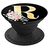 Gold Popsockets Grip Monogram Letter R Pink Flowers - PopSockets Grip and Stand for Phones and Tablets