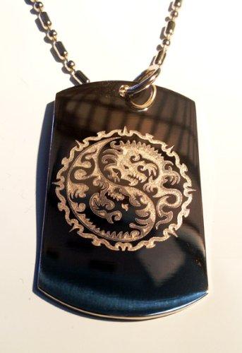 Dragon YIN Yang Tribal Chinese Asian Logo Symbol - Military Dog Tag Luggage Tag Key Chain Metal Chain Necklace