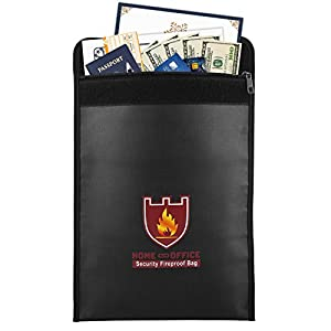 Fireproof Money & Document Bag, MoKo Fire & Water Resistant Large Cash & Envelope Holder, Protect Your Valuables, Documents, Money, Jewelry, Zipper Closure for Maximum Protection, Black