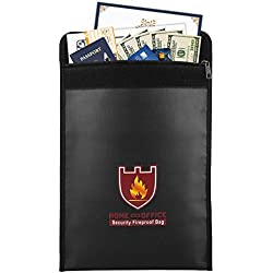 "Fireproof Money & Document Bag, MoKo 15"" x 11"" Fire & Water Resistant Cash & Envelope Holder, Protect Your Valuables, Documents, Money, Jewelry, Zipper Closure for Maximum Protection, Black"