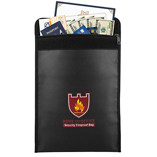 Fire Safe Bags - Fireproof Money & Document Bag, MoKo Fire & Water Resistant Large Cash & Envelope Holder, Protect Your Valuables, Documents, Money, Jewelry, Zipper Closure for Maximum Protection, Black
