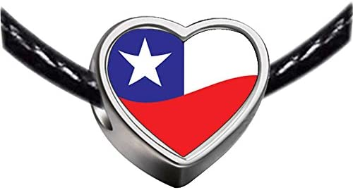 65a83d7f3e11 Chicforest Silver Plated Chile Flag Photo Heart Charm Beads Fits ...