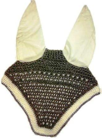 Avani Creations Horse Ear Net Crochet Fly Veil Equestrian Fly Bonnet/Veil/mask Standard Size