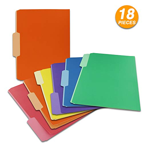 (Emraw 1/3 Cut Letter Size Color File Folder with 3 Tab Position Legal Document Organizer Designed for Home, Office, School, Classroom and More - Assorted Colors - 6 Per Pack (Pack of 3))