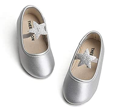THEE BRON Girl's Toddler/Little Kid Ballet Mary Jane Flat Shoes Silver Size: 7 Toddler