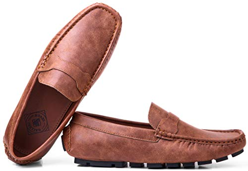 Gallery Seven Driving Shoes for Men - Casual Moccasin Loafers - Luggage Brown - US-10D(M)|UK-9.5|EU-44 ()