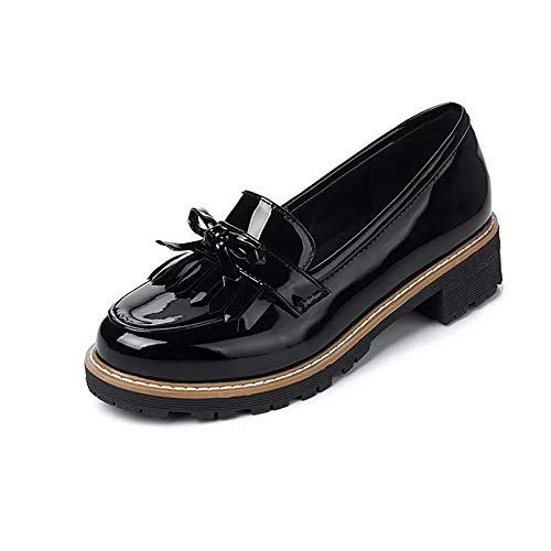 KARKEIN Women's Patent Leather Slip On Shoes