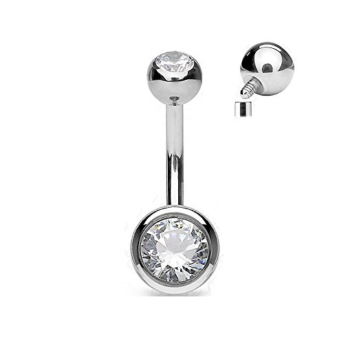 (Covet Jewelry Solid G23 Implant Grade Titanium Internally Threaded Double Jeweled Belly Button Rings (Length: 5/16