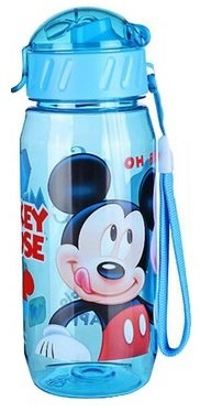 Kids Drinking Bottle Minnie Mickey Mouse Pooh Snow White folding straw school children drinking cup sipper bottle 400ml leakproof portable bottle soft mouth (Blue) - Children Cups