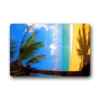 "awesomely Evergreen Fashion Custom verano playa Coco resto lugar se puede lavar a máquina. Felpudo personalizado puerta Pad alfombra 23.6""(L) X 15,7(W)"