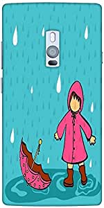 Snoogg Abstract Rainy Season Background With Cute Kid Designer Protective Bac...