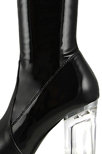 Cape Robbin Fay-2 Overknee Stretch Glasabsatz Oberschenkel Hohe Stiefel Schwarzes Patent
