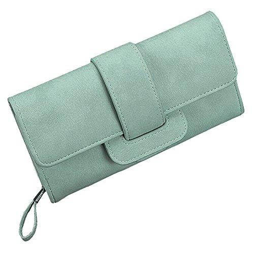 Damen Geldtasche Handtasche PU Leder Clutch Geldbörse Geldbeutel (Rosa) Grün 61Y9Q