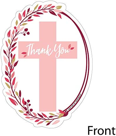 Religious Party Thank You Note Cards with Envelopes Shaped Thank You Cards Set of 12 Elegant Cross