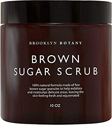 Brooklyn Botany Brown Sugar Body Scrub - Great as Face Scrub & Exfoliating Body Scrub, Stretch Marks, Foot Scrub, Great Gifts For Women - 10 oz