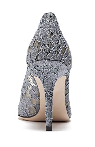 uBeauty Womens High Heels Pointed Toe Sexy Lace Pumps Rhinestone Slip On Stiletto Heels Shoes for Wedding Grey epqoAFNaCc