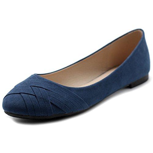 Blue Navy Stripe Flat Shoe (Ollio Women's Ballet Shoe Cute Casual Comfort Flat ZM1987(6.5 B(M) US, Navy))