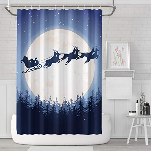 Asoco Shower Curtain Set with 12 Hooks Santa Sleigh Driving Over est Silhouette Against of MoonPolyester Fabric Waterproof Bath Curtain 72X78 Inches Decortive Bathroom