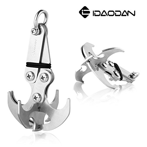ng Hook IDAODAN Multifunctional Stainless Steel Survival Folding Grappling Hook Climbing Claw Carabiner Tool for Outdoor Life (Stainless Steel Claw Anchor)