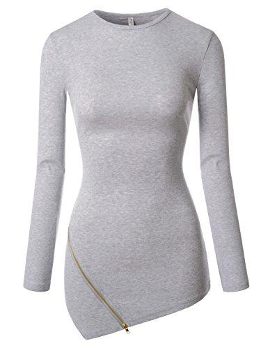 NEARKIN (NKNKWZT65) Womens Slim Cut Crewneck Unbalanced Hem Zippered Tshirts GRAY US S(Tag size M) - Christmas Womens Cut T-shirt