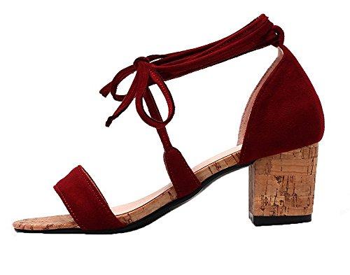 Unie Correct Ouverture Lacet d'orteil Talon à Femme Couleur Rouge Sandales AgooLar WaqwZ8Y7
