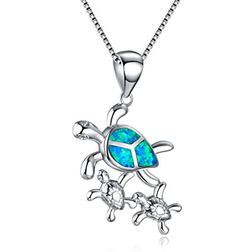 Hermosa Mom Gifts 925 Sterling Silver Sea Turtle Blue Opal Women Pendant Necklace Earrings (Family Turtle Necklace) ()