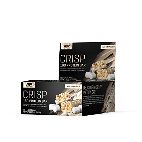 Peanut Butter Marshmallow Bars - MusclePharm Crisp Protein Bar, 16 Grams of Protein, Delicious Protein Bar, Banned-Substance Tested, Marshmallow, Non-GMO, Gluten-Free, Low in Sugar and Carbs, 12 Servings