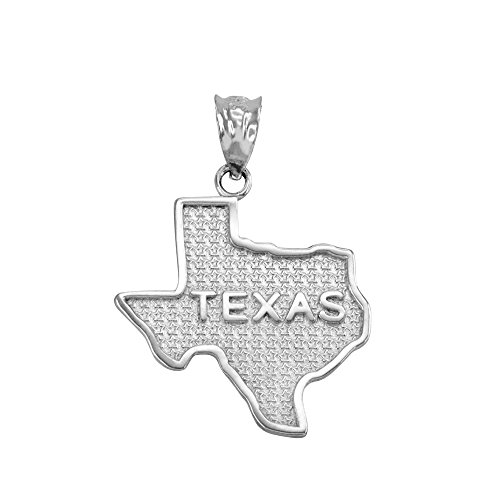 Texas Flag Charm - Texas State TX Map Charm Pendant in 925 Sterling Silver